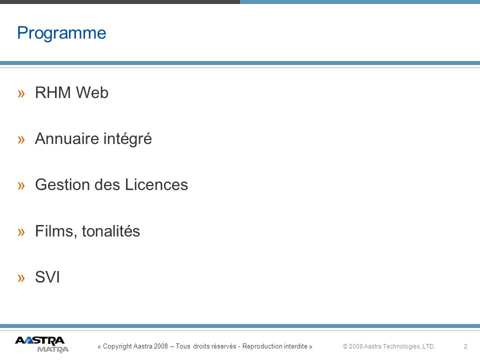 Programme RHM Web Annuaire intégré Gestion des Licences