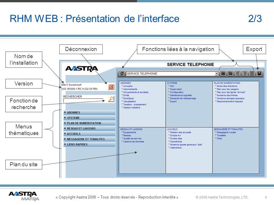 RHM WEB : Présentation de l'interface 2/3