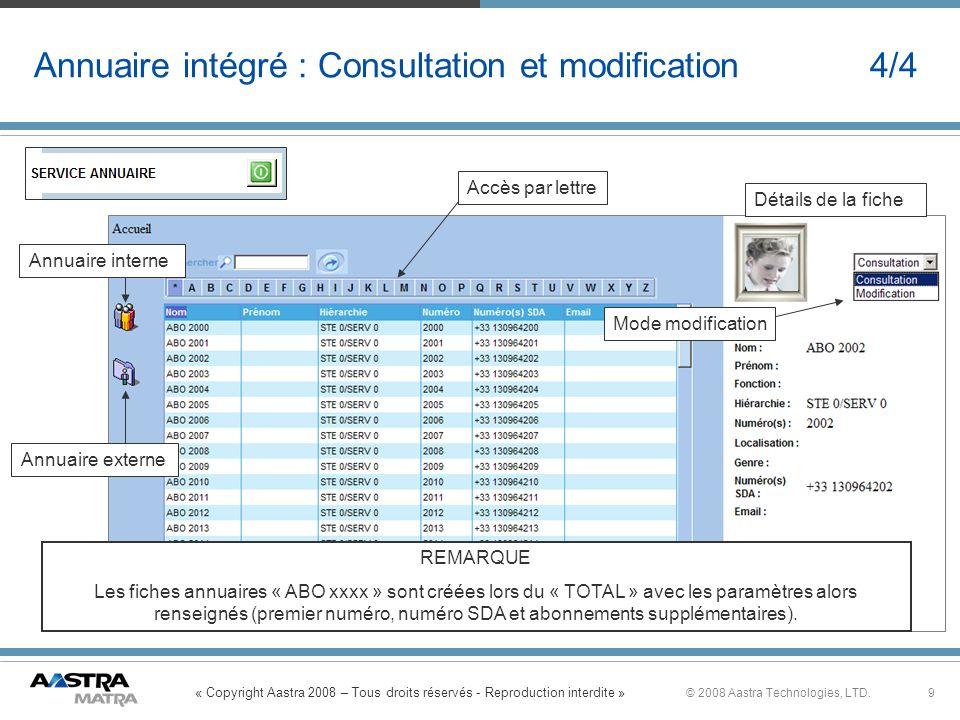 Annuaire intégré : Consultation et modification 4/4