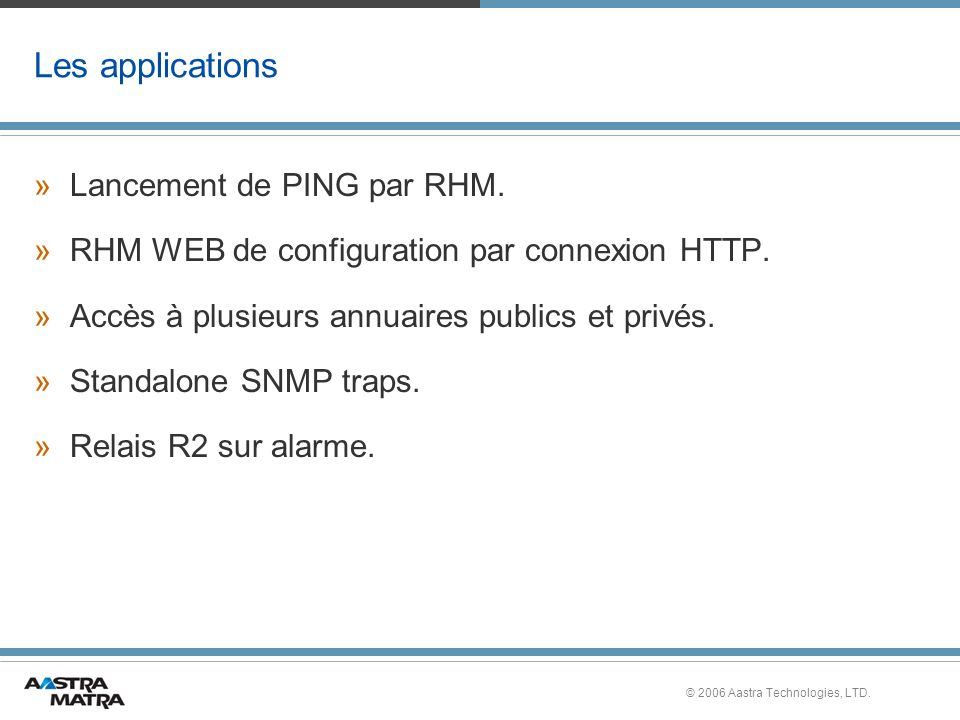 Les applications Lancement de PING par RHM.
