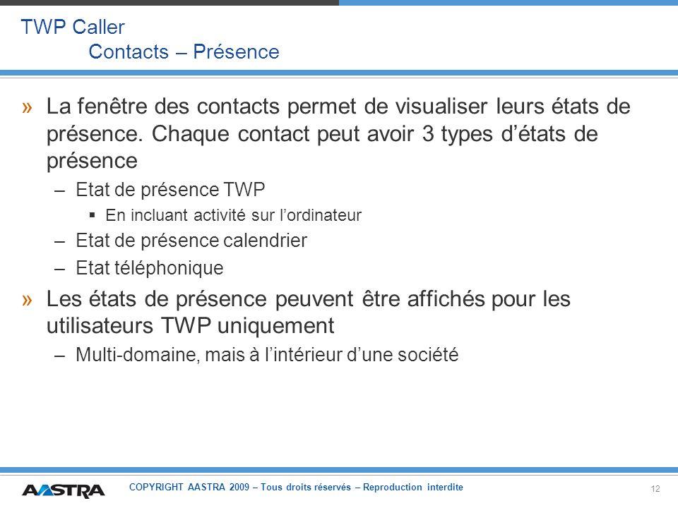 TWP Caller Contacts – Présence
