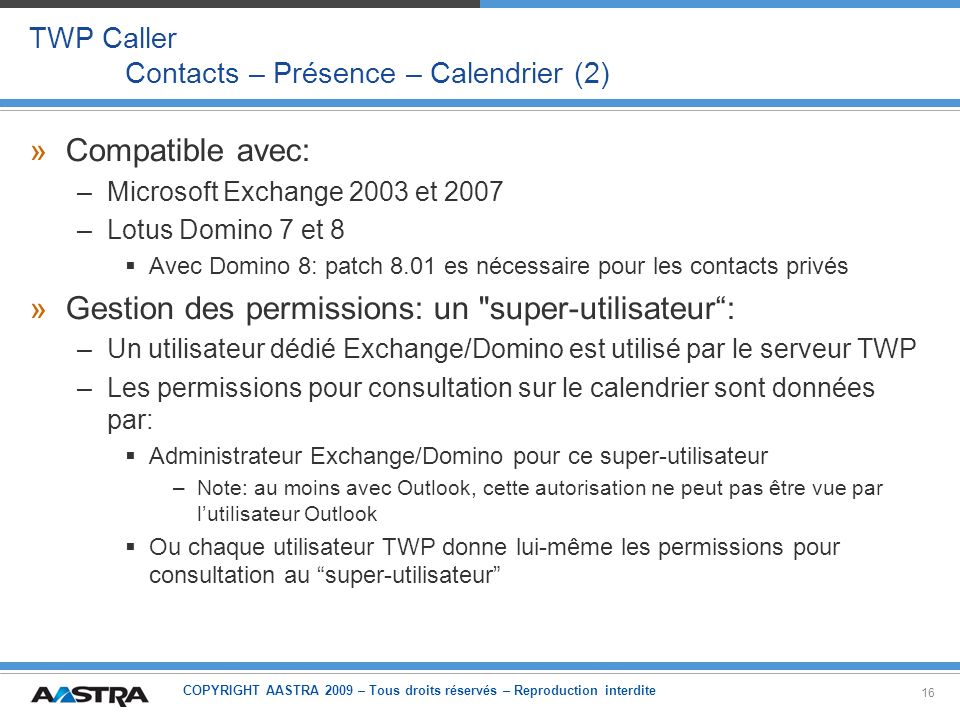 TWP Caller Contacts – Présence – Calendrier (2)