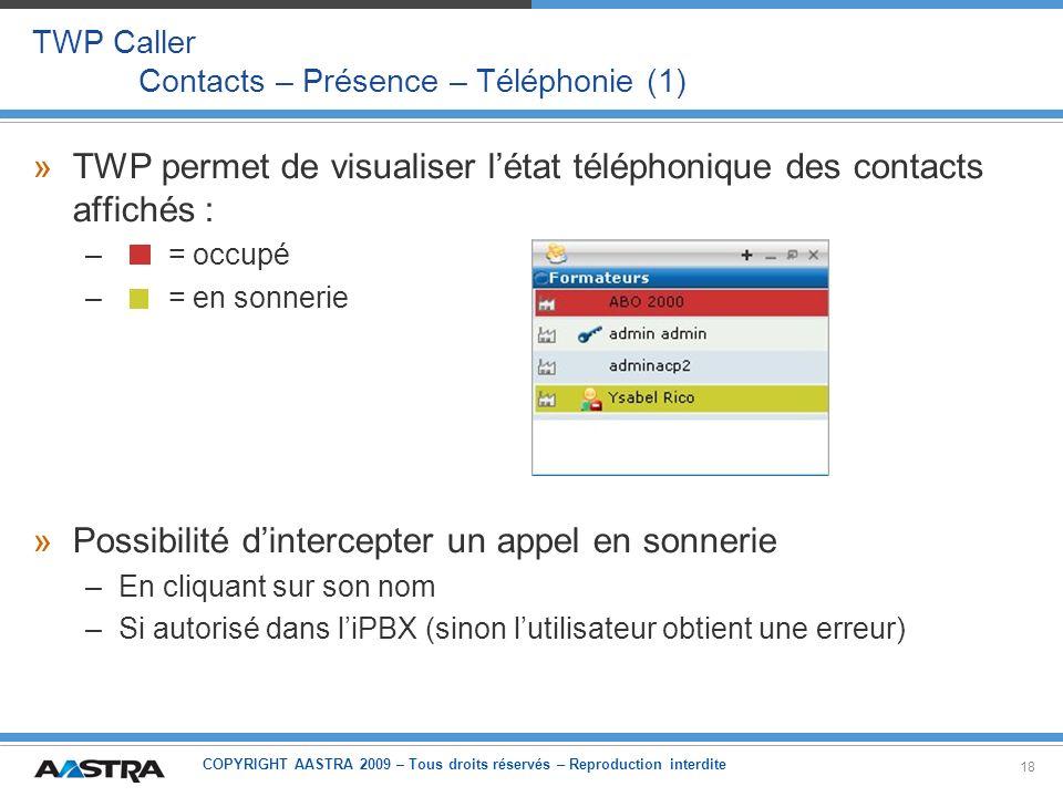 TWP Caller Contacts – Présence – Téléphonie (1)
