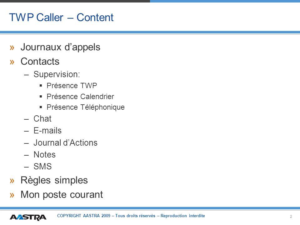 TWP Caller – Content Journaux d'appels Contacts Règles simples