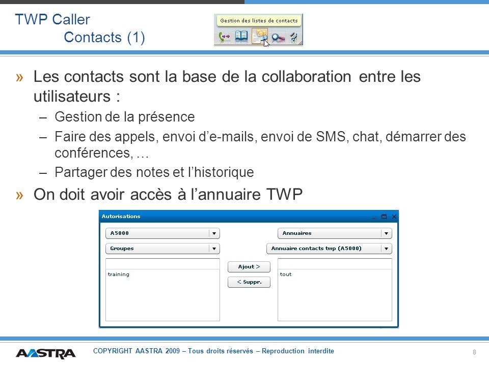 Les contacts sont la base de la collaboration entre les utilisateurs :