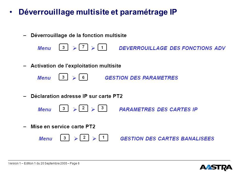 Déverrouillage multisite et paramétrage IP