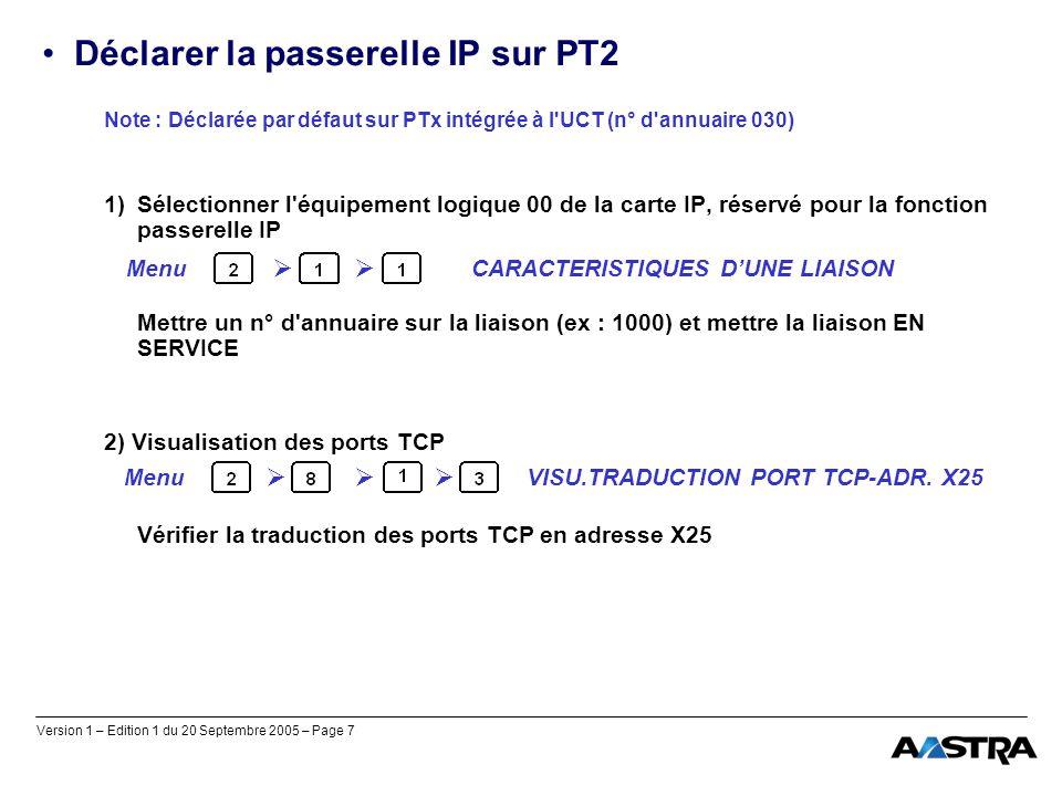 Déclarer la passerelle IP sur PT2