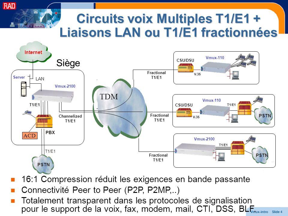 Circuits voix Multiples T1/E1 + Liaisons LAN ou T1/E1 fractionnées