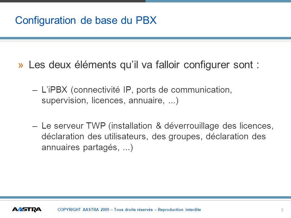 Configuration de base du PBX