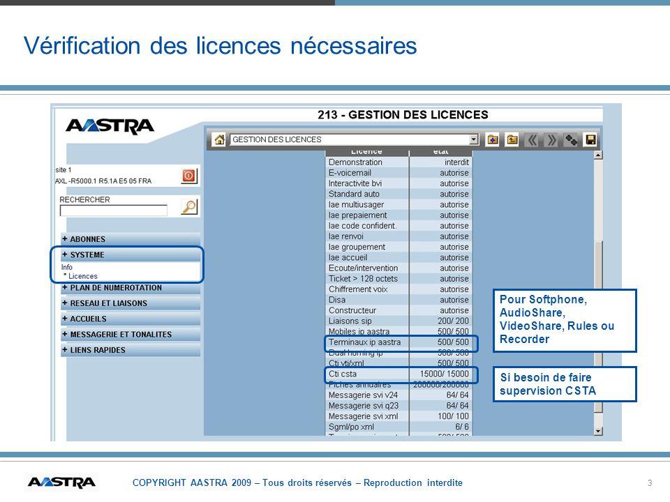 Vérification des licences nécessaires