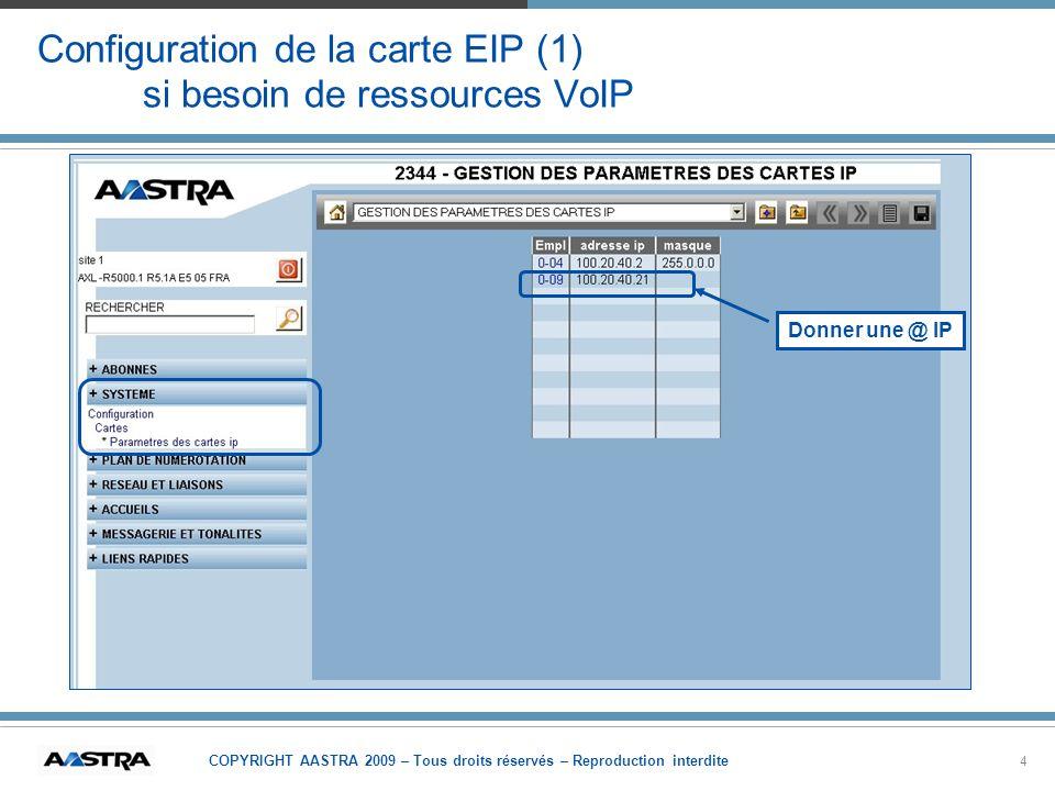 Configuration de la carte EIP (1) si besoin de ressources VoIP