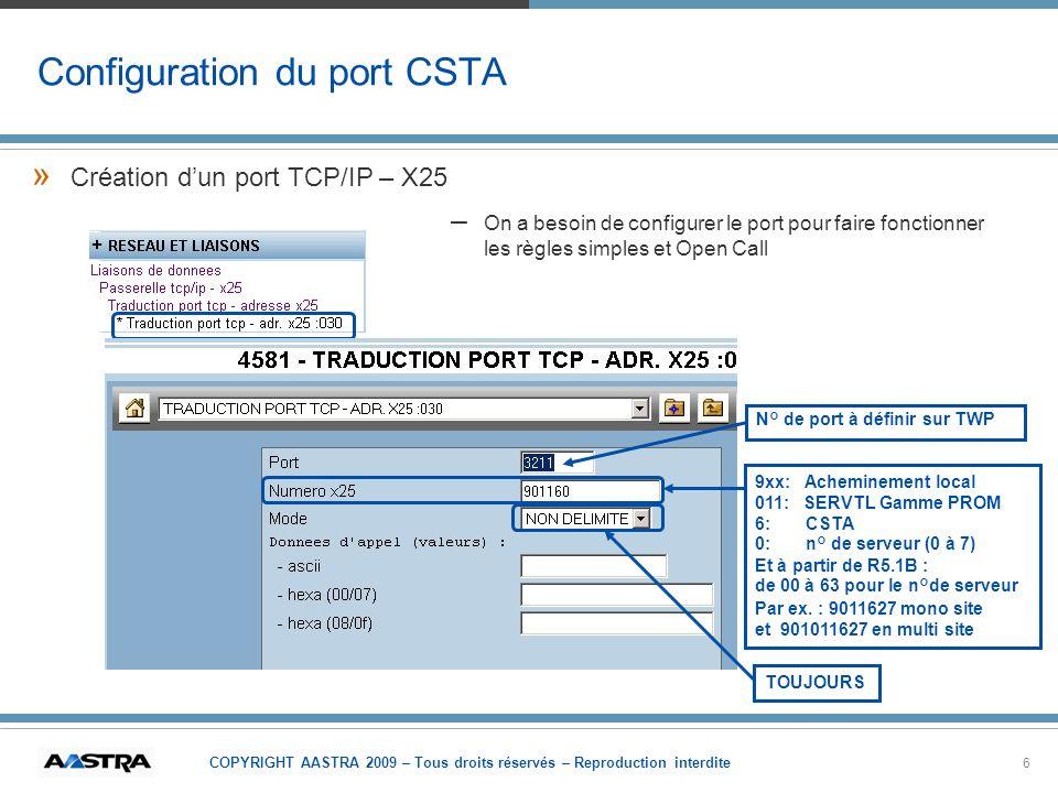 Configuration du port CSTA