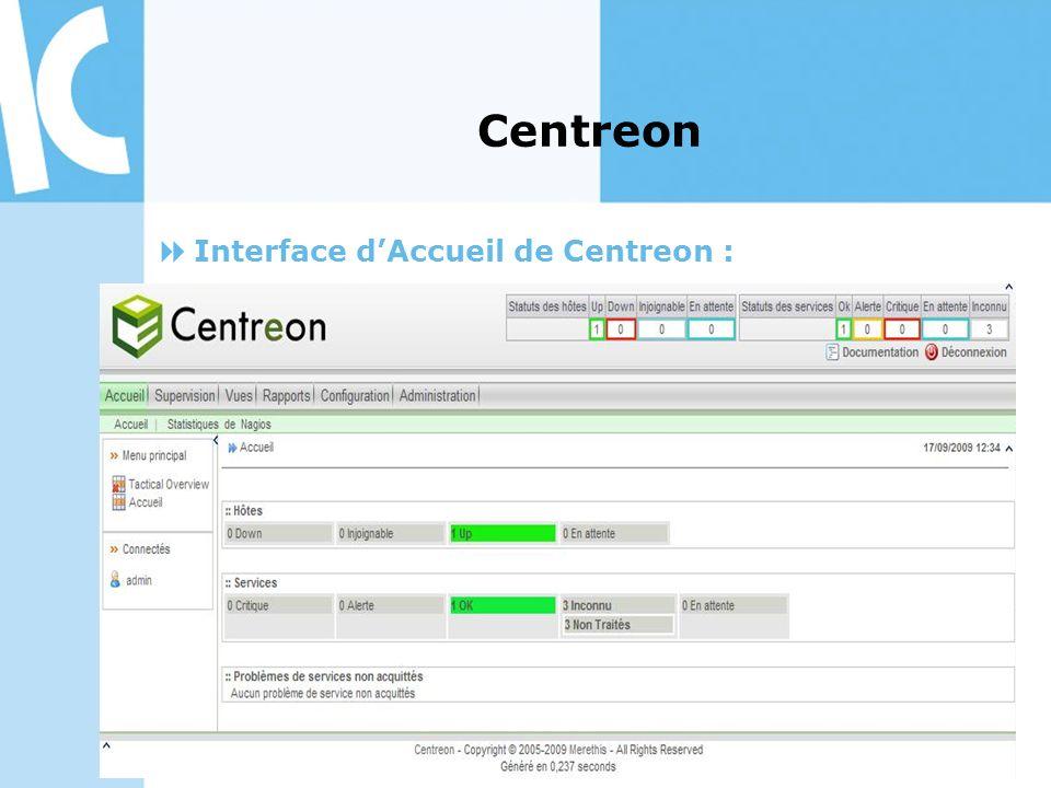 Centreon Interface d'Accueil de Centreon :