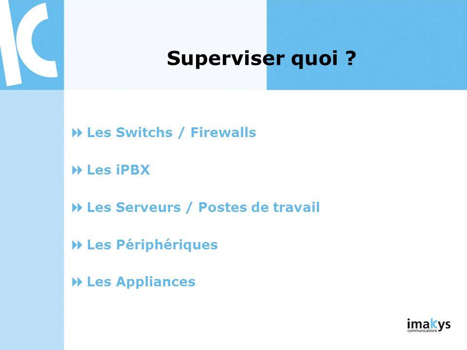 Superviser quoi Les Switchs / Firewalls Les iPBX
