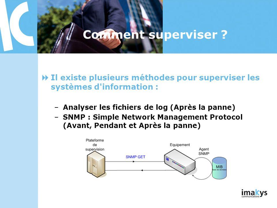 Comment superviser Il existe plusieurs méthodes pour superviser les systèmes d information : Analyser les fichiers de log (Après la panne)