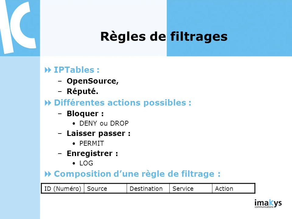 Règles de filtrages IPTables : Différentes actions possibles :