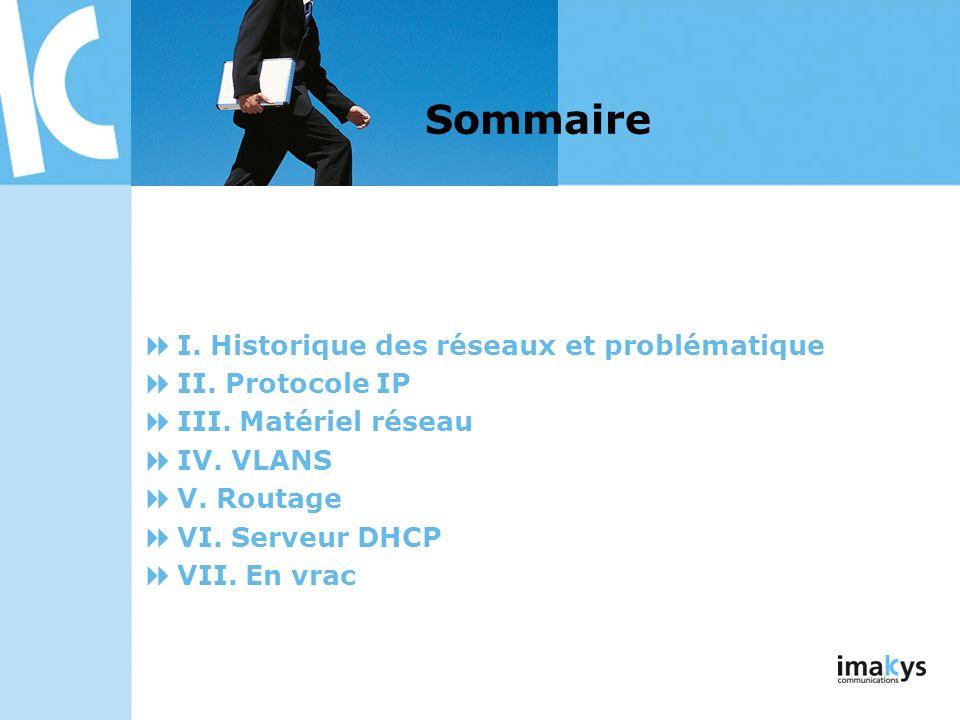 Sommaire I. Historique des réseaux et problématique II. Protocole IP