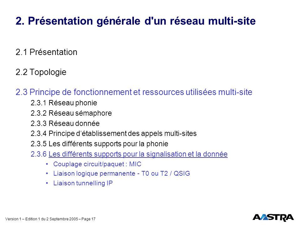 2. Présentation générale d un réseau multi-site