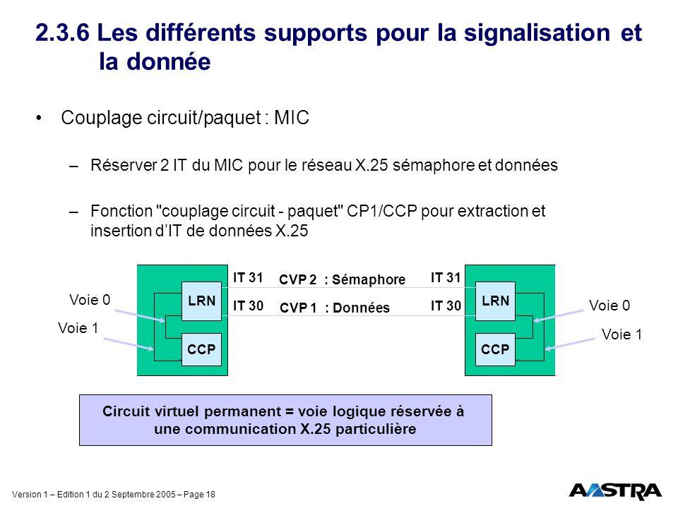 2.3.6 Les différents supports pour la signalisation et la donnée