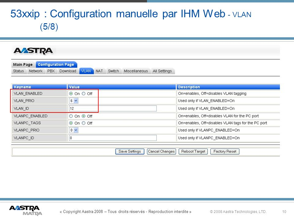 53xxip : Configuration manuelle par IHM Web - VLAN (5/8)