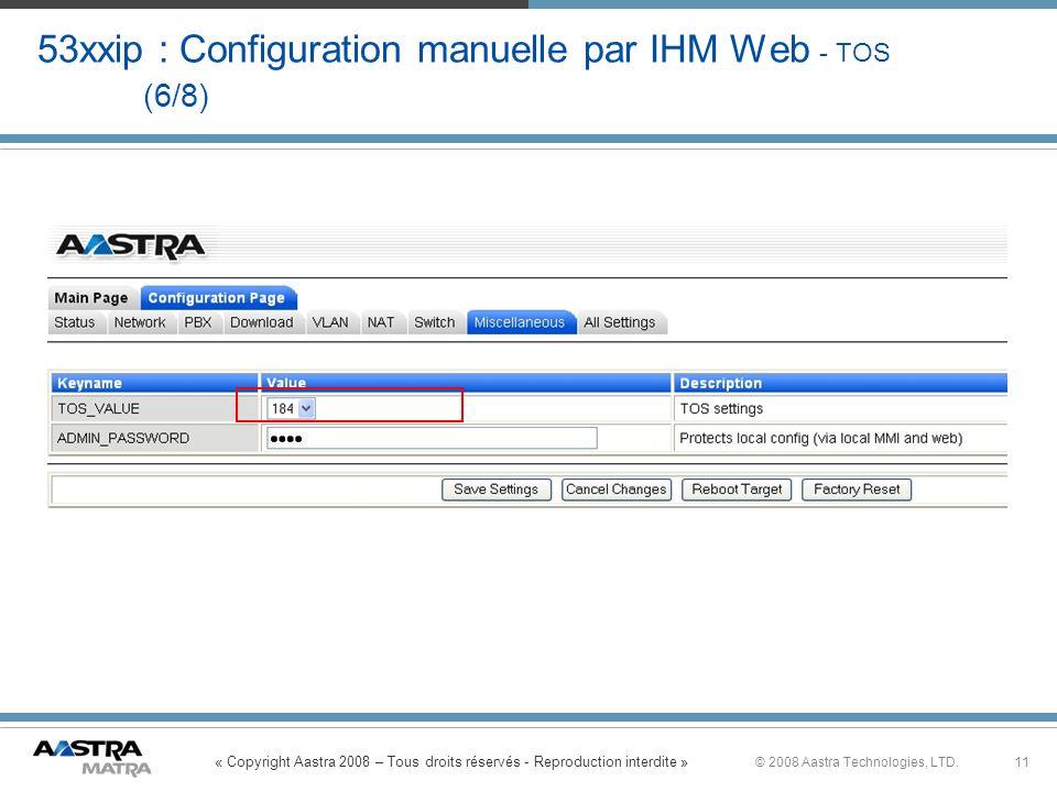 53xxip : Configuration manuelle par IHM Web - TOS (6/8)