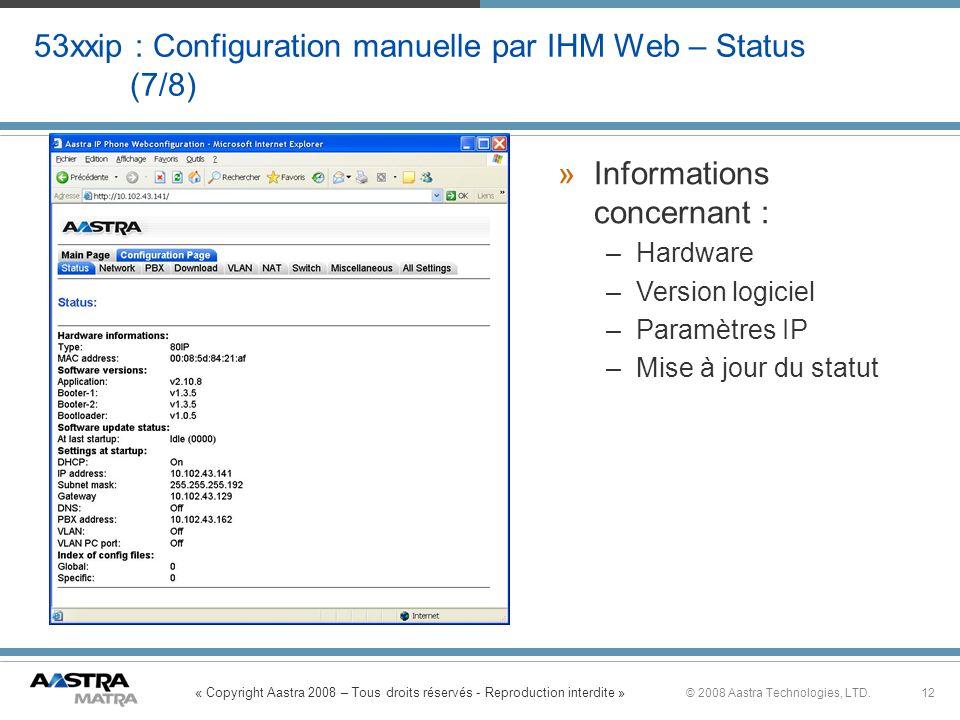 53xxip : Configuration manuelle par IHM Web – Status (7/8)