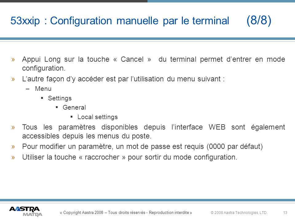 53xxip : Configuration manuelle par le terminal (8/8)