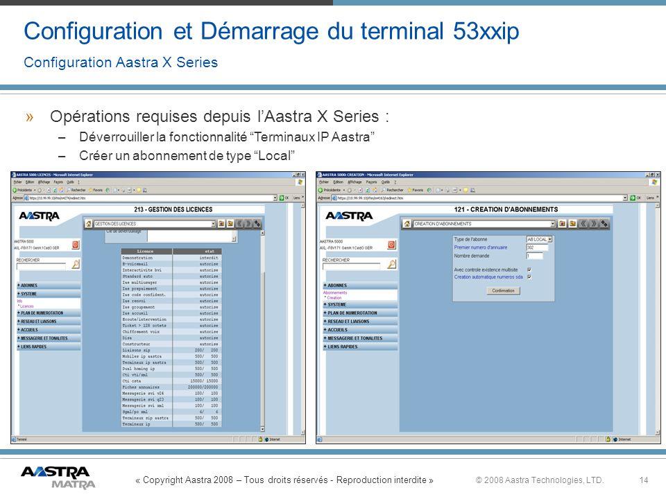 Configuration et Démarrage du terminal 53xxip