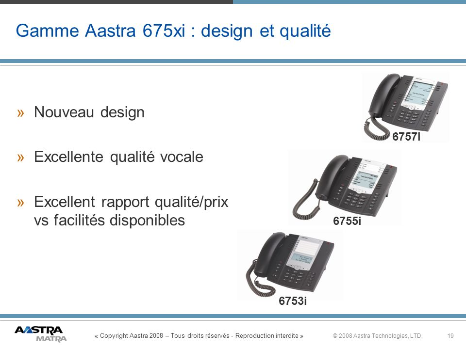 Gamme Aastra 675xi : design et qualité
