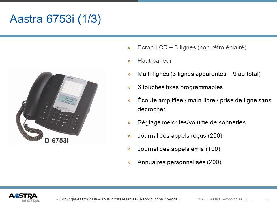 Aastra 6753i (1/3) D 6753i Ecran LCD – 3 lignes (non rétro éclairé)