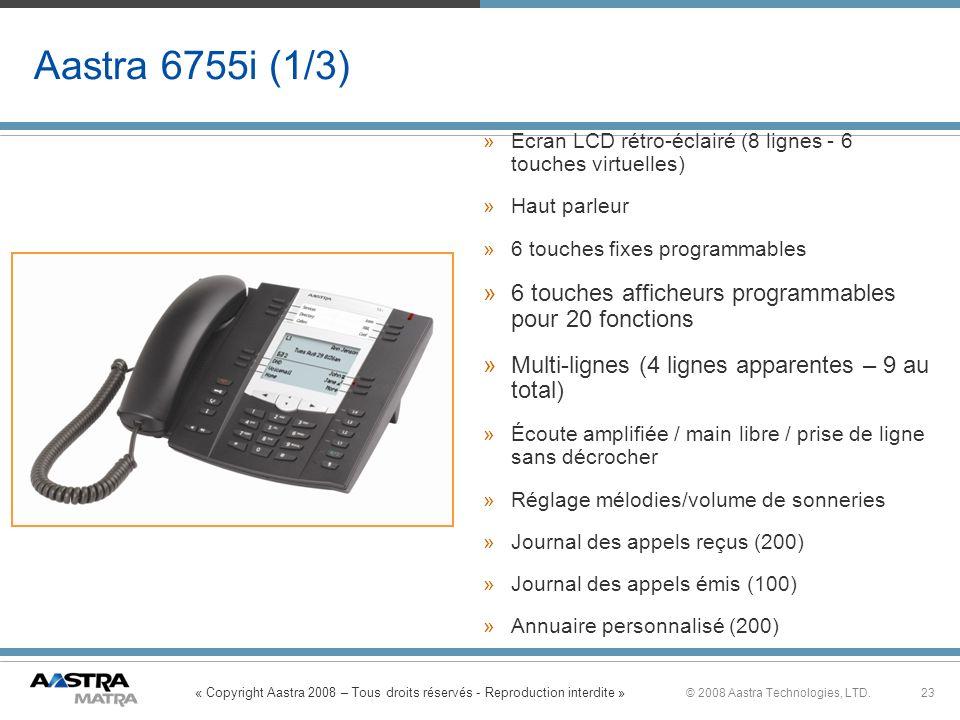 Aastra 6755i (1/3) Ecran LCD rétro-éclairé (8 lignes - 6 touches virtuelles) Haut parleur. 6 touches fixes programmables.