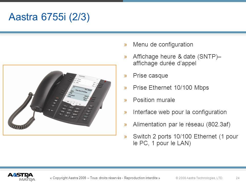 Aastra 6755i (2/3) Menu de configuration