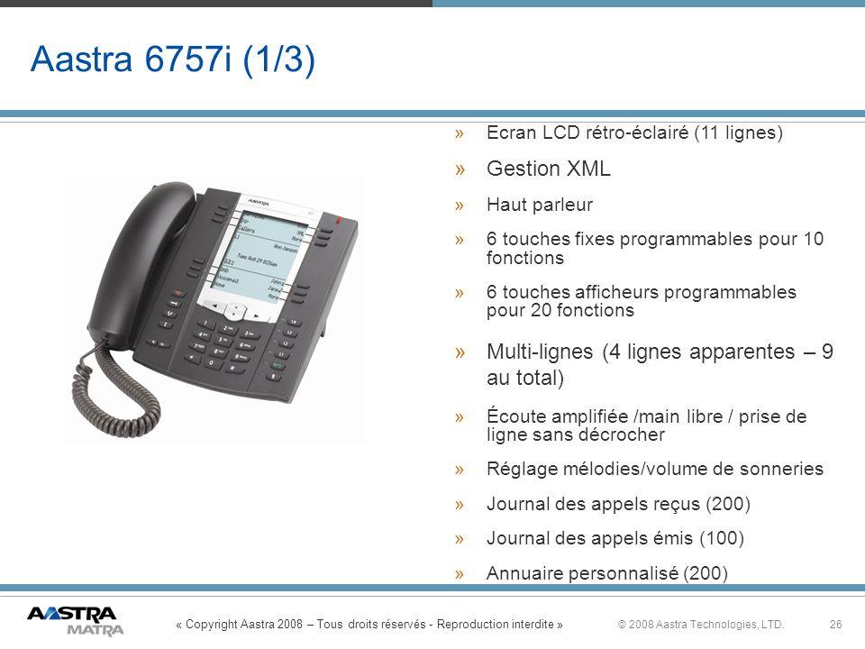 Aastra 6757i (1/3) Gestion XML