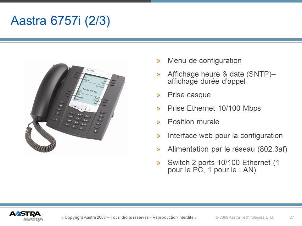 Aastra 6757i (2/3) Menu de configuration