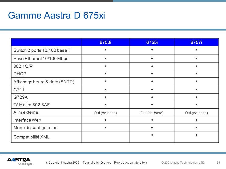 Gamme Aastra D 675xi 6753i 6755i 6757i Switch 2 ports 10/100 base T
