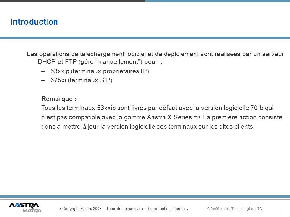 Introduction Les opérations de téléchargement logiciel et de déploiement sont réalisées par un serveur DHCP et FTP (géré manuellement ) pour :