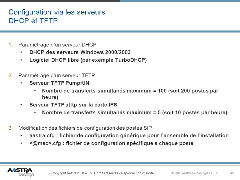 Configuration via les serveurs DHCP et TFTP