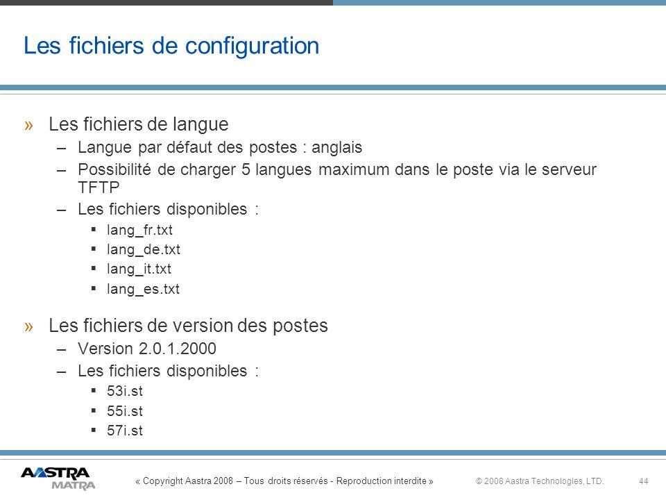 Les fichiers de configuration