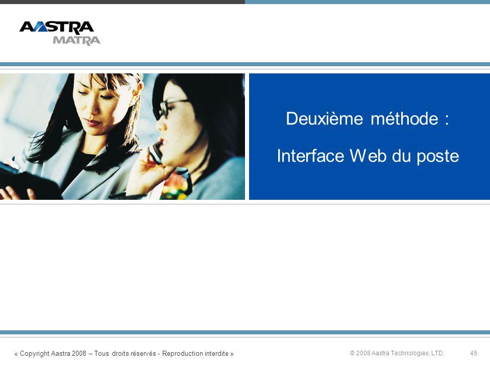 Deuxième méthode : Interface Web du poste