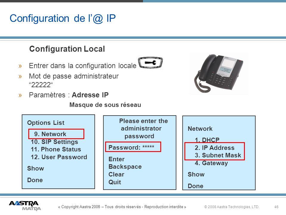 Configuration de l'@ IP