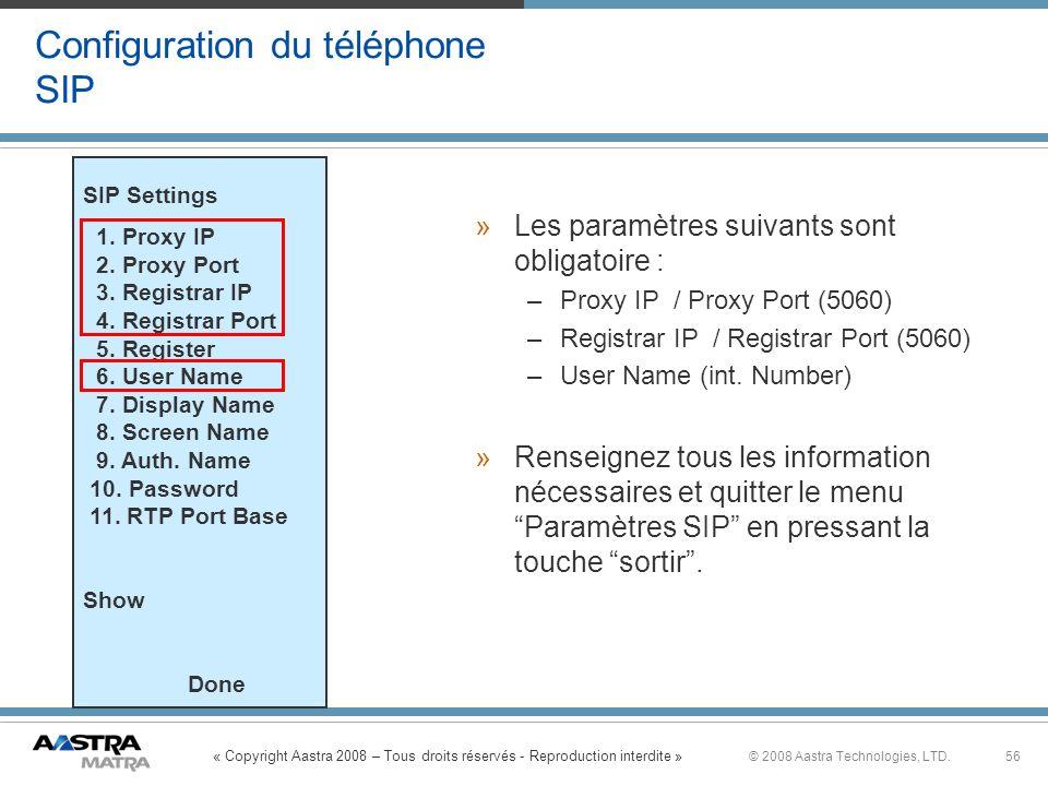 Configuration du téléphone SIP