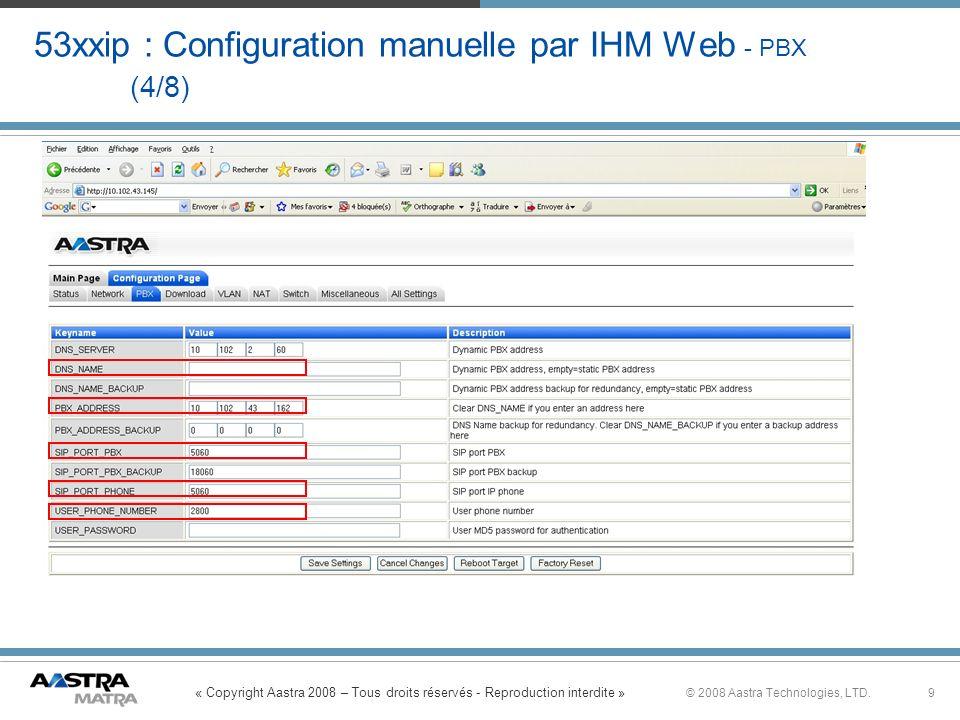 53xxip : Configuration manuelle par IHM Web - PBX (4/8)