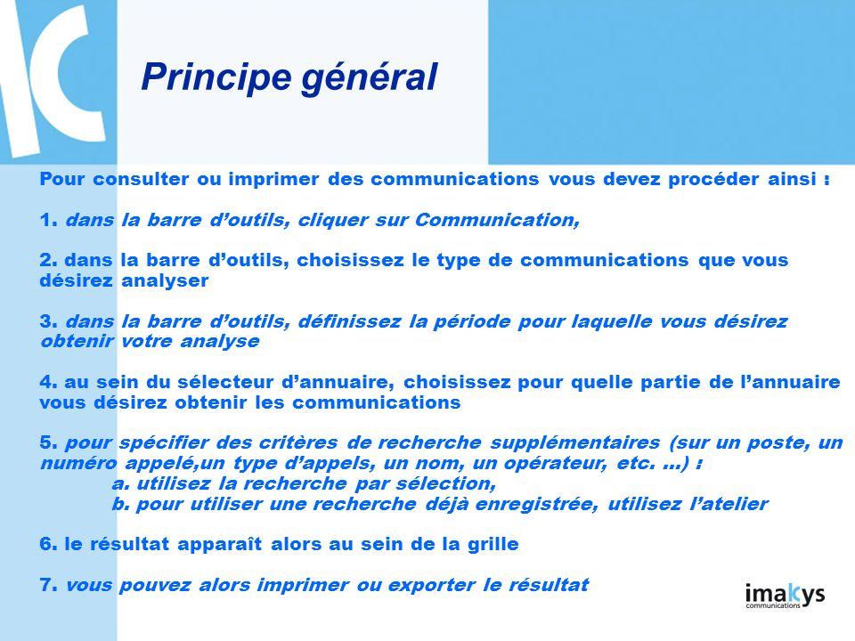 Principe général Pour consulter ou imprimer des communications vous devez procéder ainsi : 1. dans la barre d'outils, cliquer sur Communication,