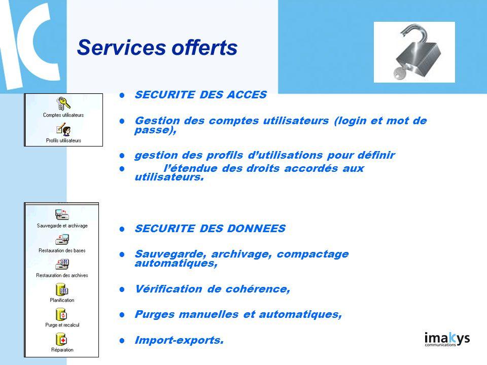 Services offerts SECURITE DES ACCES
