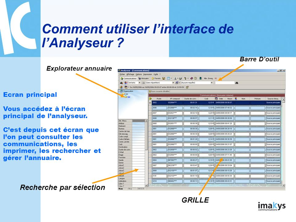 Comment utiliser l'interface de l'Analyseur