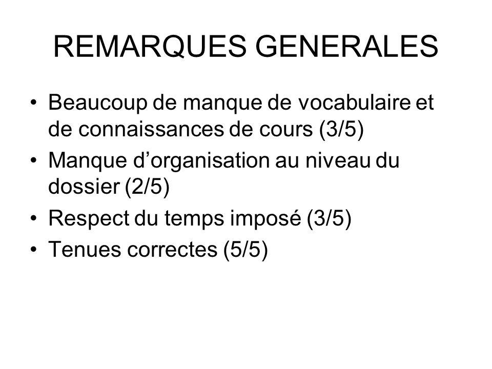 REMARQUES GENERALES Beaucoup de manque de vocabulaire et de connaissances de cours (3/5) Manque d'organisation au niveau du dossier (2/5)