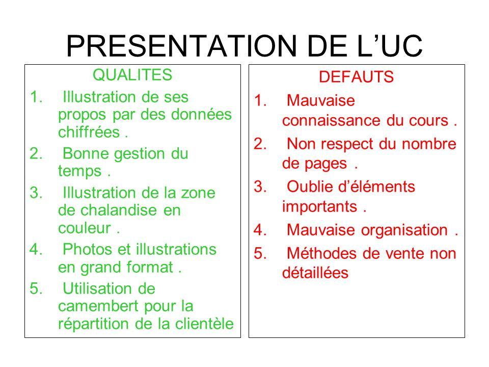 PRESENTATION DE L'UC QUALITES
