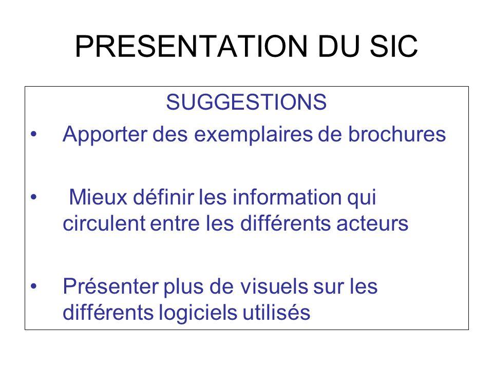 PRESENTATION DU SIC SUGGESTIONS Apporter des exemplaires de brochures