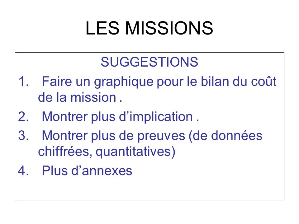 LES MISSIONS SUGGESTIONS