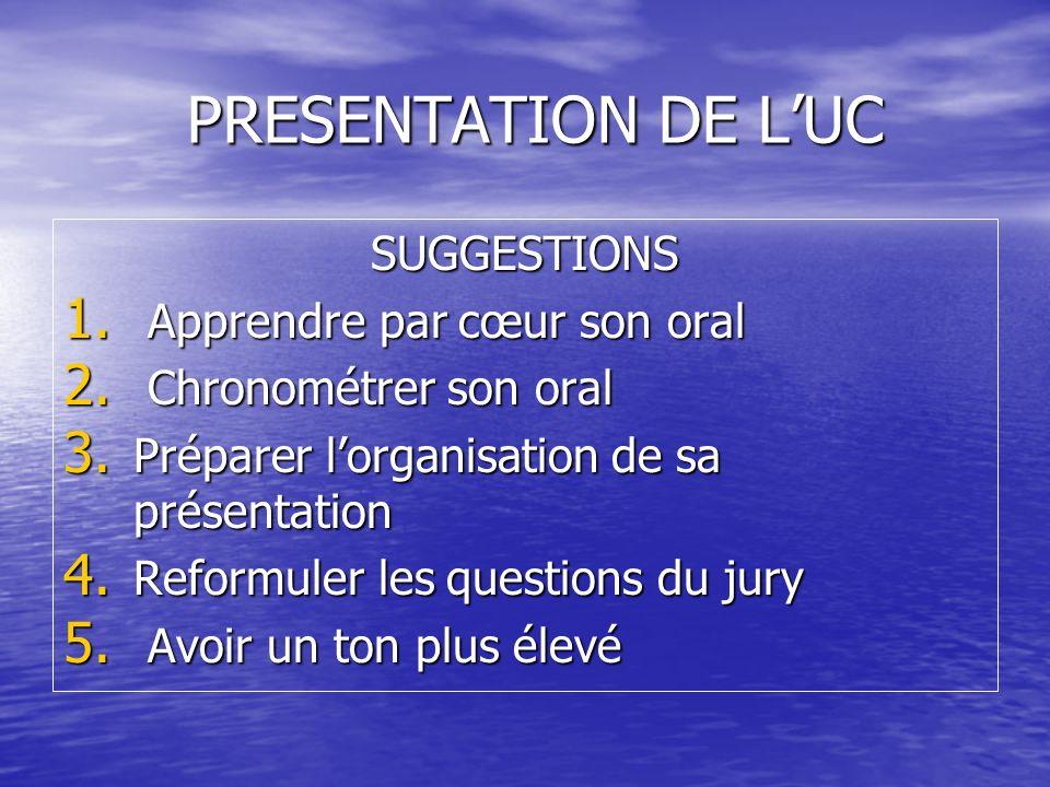 PRESENTATION DE L'UC SUGGESTIONS Apprendre par cœur son oral